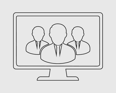 Online User group line icon on gray background. Vector EPS. Stock Illustratie