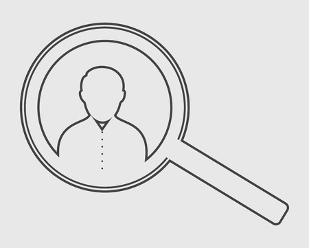 Search employee line icon. Vector EPS.