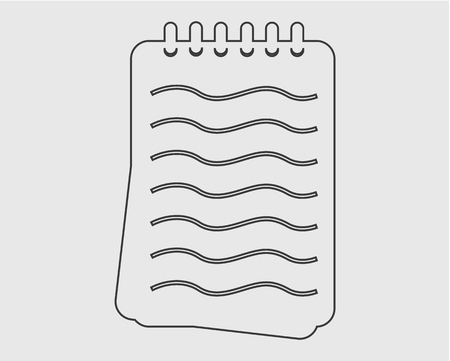 Notepad line Icon on Gray Background