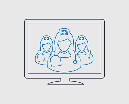 E-Health Care line Icon on gray background