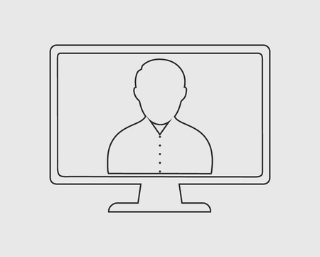 Online User line icon on gray background. Vector EPS.