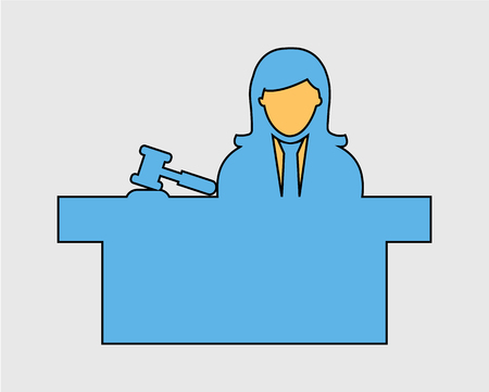 Colorful female Judge Icon with hammer symbol