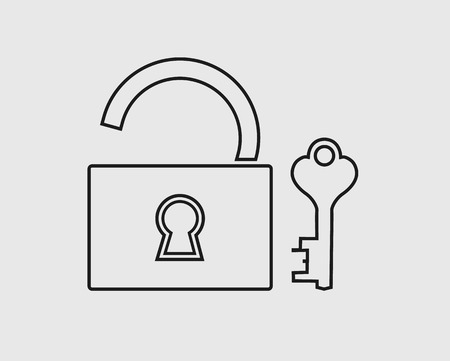 Lock and Key line Icon on gray background