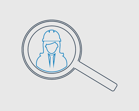 Search Female Employee line Icon on gray background