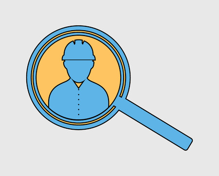 Colorful Search employee icon in gray background