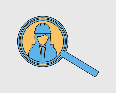 Colorful Search Female Employee Icon on gray background