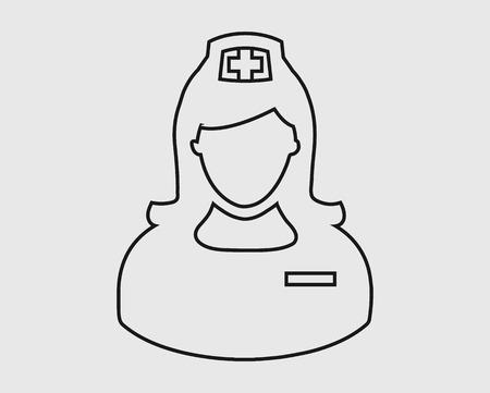 Nurse line Icon on gray Background.