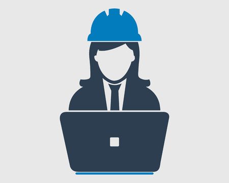 Computer Engineer Icon. Male symbol with computer monitor Çizim