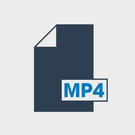 MP4 file format Icon on gray background.