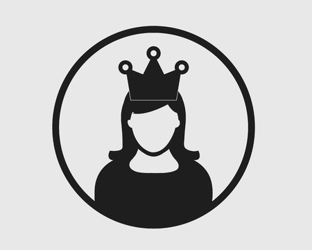Awarded Women Icon. Female symbol with crown on her head. 일러스트