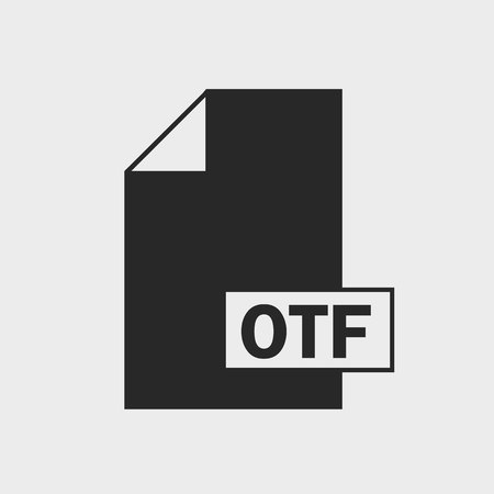 OpenType Features (OTF) file format Icon on gray background.
