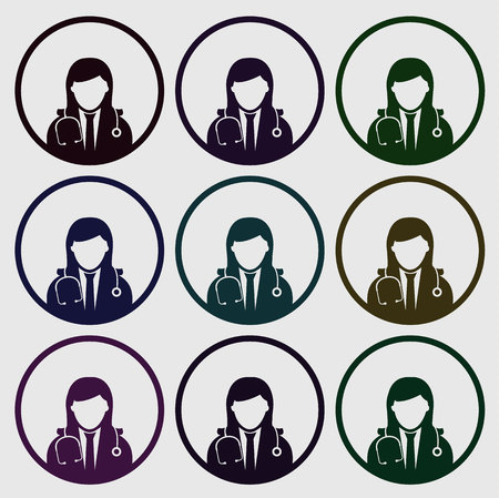 Different colors doctor icon set on gray background Illustration