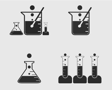Laboratory Elements Icons Set. Test tube, Flask, Beaker symbol on gray Background. Foto de archivo - 116755926
