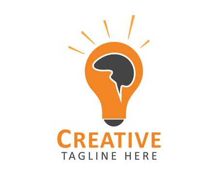 Creative Idea illustration. Human brain on Light bulb symbol. Ilustração