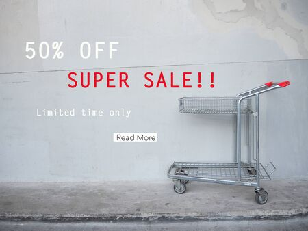 shoppingcart: 50 off Super sale signage Stock Photo