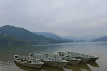 phewa: Boats at Phewa Lake, Nepal Stock Photo