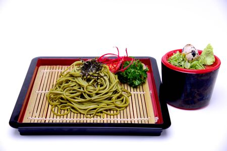 Japanese Greentea Soba Noodles with Dipping Sauce , Cha Soba isolated on White Background