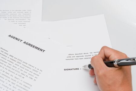 Agency contract form and fountain pen Stok Fotoğraf
