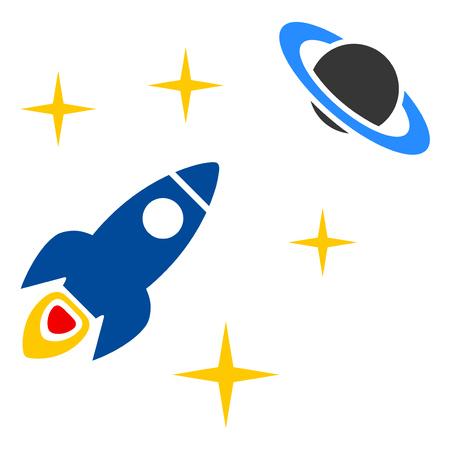 Space Rocket flying between stars. Universe exploration.
