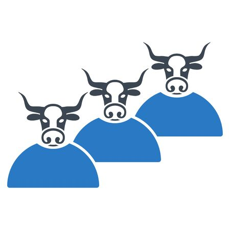 Livestock Herd flat raster illustration. An isolated illustration on a white background.