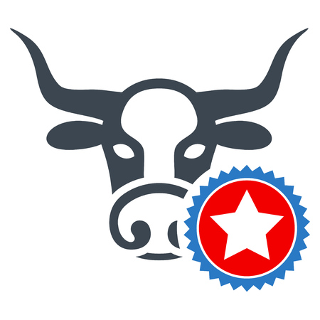 Cow Stamp flat vector pictogram. An isolated illustration on a white background. Illustration