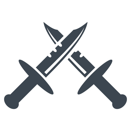 Swords flat vector illustration. An isolated illustration on a white background.