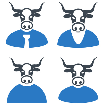 Bull Boss flat vector icon collection. An isolated icons on a white background. Illustration