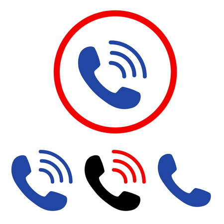 Phone Call flat vector pictogram collection. An isolated icons on a white background. Illustration
