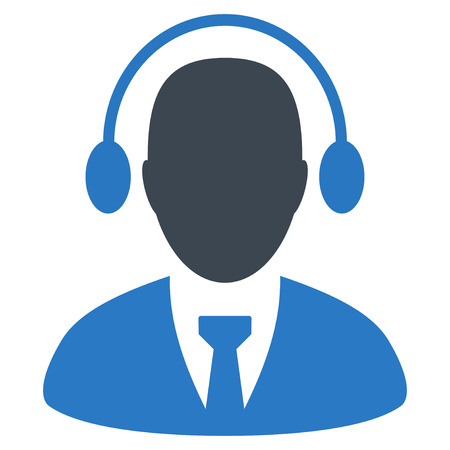 talker: Call Center Agent flat vector pictogram. An isolated illustration on a white background.