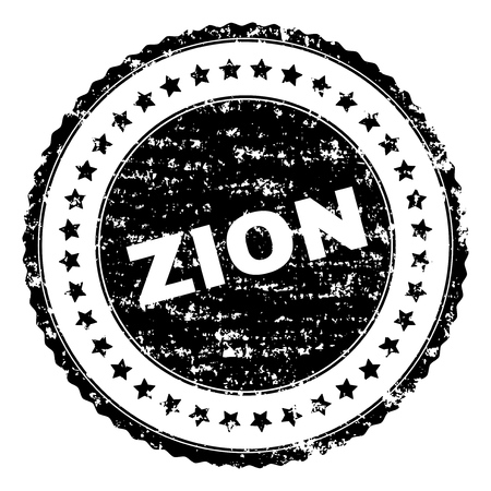 ZION stamp seal watermark with distress style. Black vector rubber print of ZION text with unclean texture. Rubber seal imitation has circle shape and contains stars.