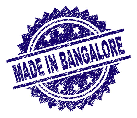 MADE IN BANGALORE stamp seal watermark with distress style. Blue vector rubber print of MADE IN BANGALORE text with corroded texture. Illustration