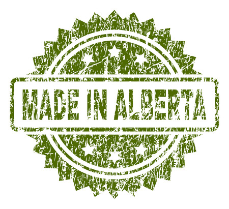 MADE IN ALBERTA stamp seal watermark with rubber print style. Green vector rubber print of MADE IN ALBERTA tag with corroded texture.