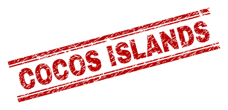 COCOS ISLANDS stamp seal watermark with distress style. Red vector rubber print of COCOS ISLANDS tag with retro texture. Text tag is placed between double parallel lines.