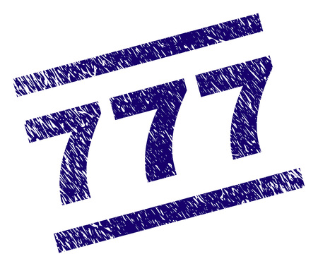 777 stamp seal watermark with grunge style. Blue vector rubber print of 777 text with scratched texture. Text label is placed between parallel lines.