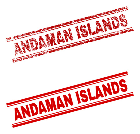 ANDAMAN ISLANDS stamp seal watermark with distress and clean styles. Red vector rubber print of ANDAMAN ISLANDS tag with scratched texture. Text tag is placed between double parallel lines.
