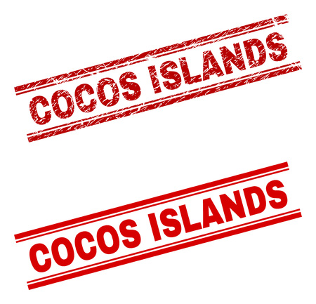 COCOS ISLANDS stamp seal watermark with distress and clean styles. Red vector rubber print of COCOS ISLANDS text with dirty texture. Text label is placed between double parallel lines. Illustration