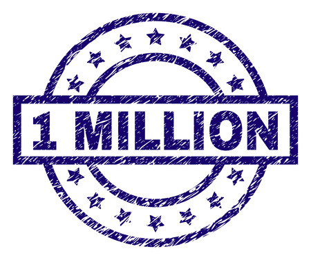1 MILLION stamp seal watermark with grunge texture. Designed with rectangle, circles and stars. Blue vector rubber print of 1 MILLION title with unclean texture. Vector Illustration