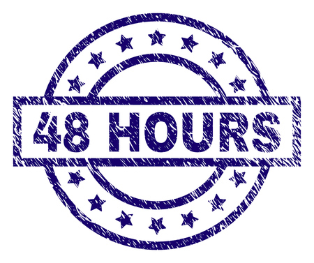 48 HOURS stamp seal watermark with distress texture. Designed with rectangle, circles and stars. Blue vector rubber print of 48 HOURS label with dust texture.