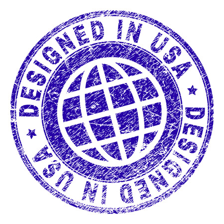 DESIGNED IN USA stamp watermark with grunge texture. Blue vector rubber print of DESIGNED IN USA label with dirty texture. Seal has words arranged by circle and globe symbol.