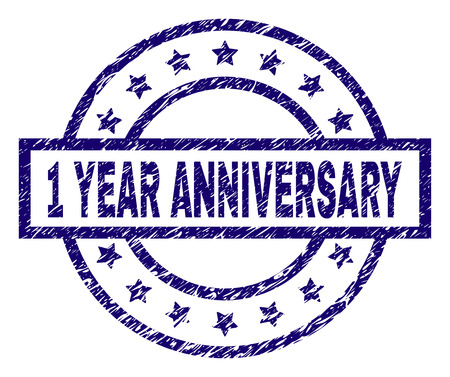 1 YEAR ANNIVERSARY stamp seal watermark with grunge texture. Designed with rectangle, circles and stars. Blue vector rubber print of 1 YEAR ANNIVERSARY caption with corroded texture.