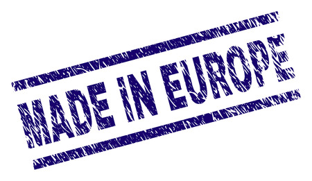 MADE IN EUROPE stamp seal watermark with grunge style. Blue vector rubber print of MADE IN EUROPE title with corroded texture. Text title is placed between parallel lines. Ilustração