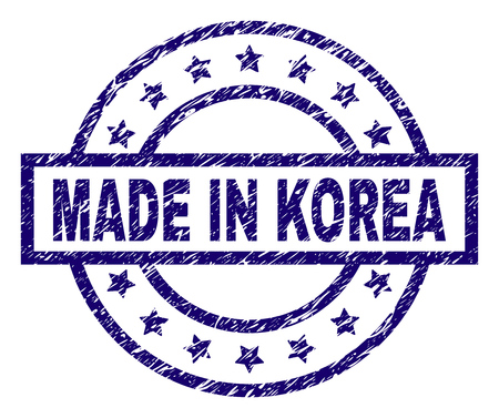 MADE IN KOREA stamp seal watermark with grunge style. Designed with rectangle, circles and stars. Blue vector rubber print of MADE IN KOREA tag with grunge texture.