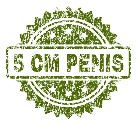 5 CM PENIS stamp seal watermark with dirty style. Green vector rubber print of 5 CM PENIS caption with grunge texture.
