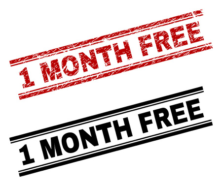 1 MONTH FREE stamp seal print with red grunge and clean black version. Red vector rubber print of 1 MONTH FREE title with retro texture. Tags are placed between double parallel lines.