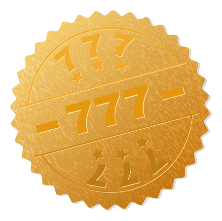 777 gold stamp seal. Vector golden medal of 777 text. Text labels are placed between parallel lines and on circle. Golden surface has metallic texture. Illustration