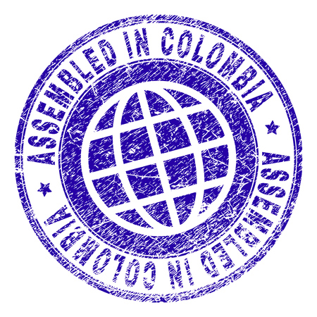 ASSEMBLED IN COLOMBIA stamp watermark with grunge style. Blue vector rubber print of ASSEMBLED IN COLOMBIA caption with grunge texture. Seal has words arranged by circle and globe symbol.
