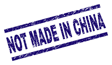 NOT MADE IN CHINA stamp seal watermark with grunge style. Blue vector rubber print of NOT MADE IN CHINA tag with grunge texture. Text tag is placed between parallel lines. Illustration