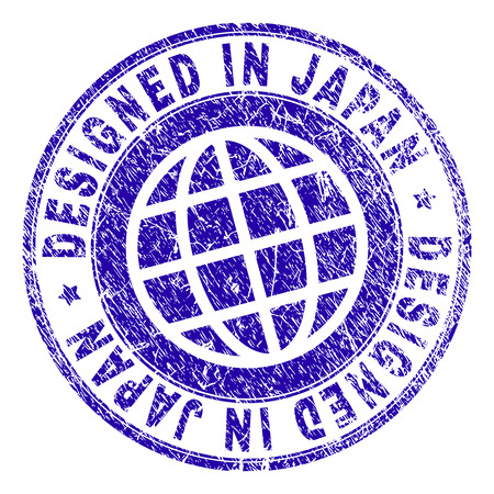 DESIGNED IN JAPAN stamp watermark with grunge texture. Blue vector rubber print of DESIGNED IN JAPAN caption with grunge texture. Seal has words placed by circle and globe symbol.
