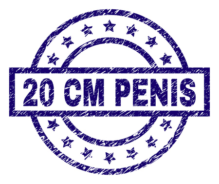 20 CM PENIS stamp seal watermark with grunge texture. Designed with rectangle, circles and stars. Blue vector rubber print of 20 CM PENIS title with dirty texture. Vector Illustration