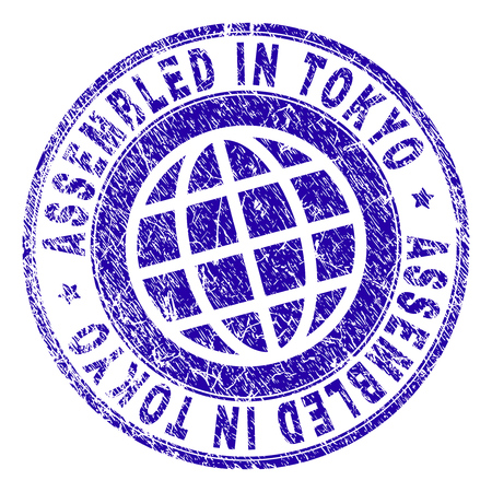 ASSEMBLED IN TOKYO stamp watermark with grunge texture. Blue vector rubber print of ASSEMBLED IN TOKYO tag with grunge texture. Seal has words arranged by circle and planet symbol.